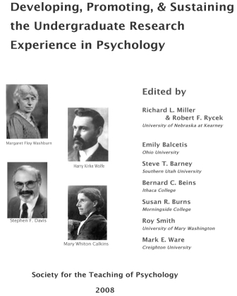 Cover - Developing, Promoting & Sustaining the Undergraduate Research Experience in Psychology