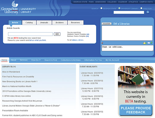 Beta Library Website Launch | Georgia State University Library Blog