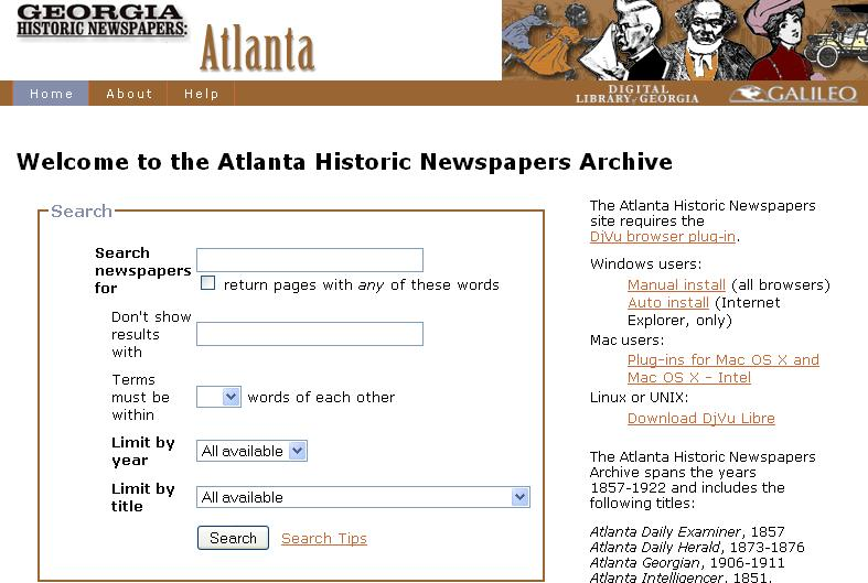 Atlanta Historic Newspapers Archive