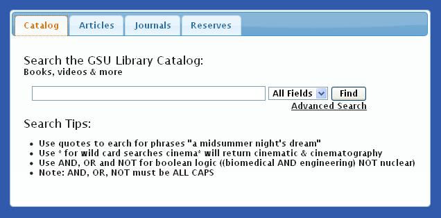 The megasearch on the main library home page allows you to search the library's catalog, articles databases, search for journals by title, or access electronic reserves.