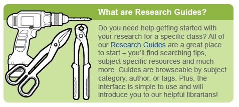 The Research Guides educational block from the library home page.