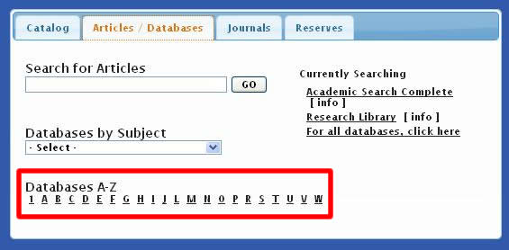The Databases A-Z option on the Megasearch