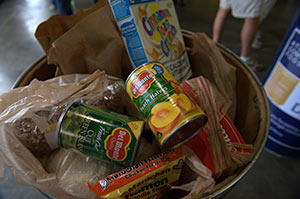 Collected items for a food drive.