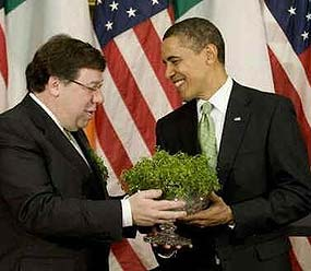 Pres. Obama accepting shamrocks
