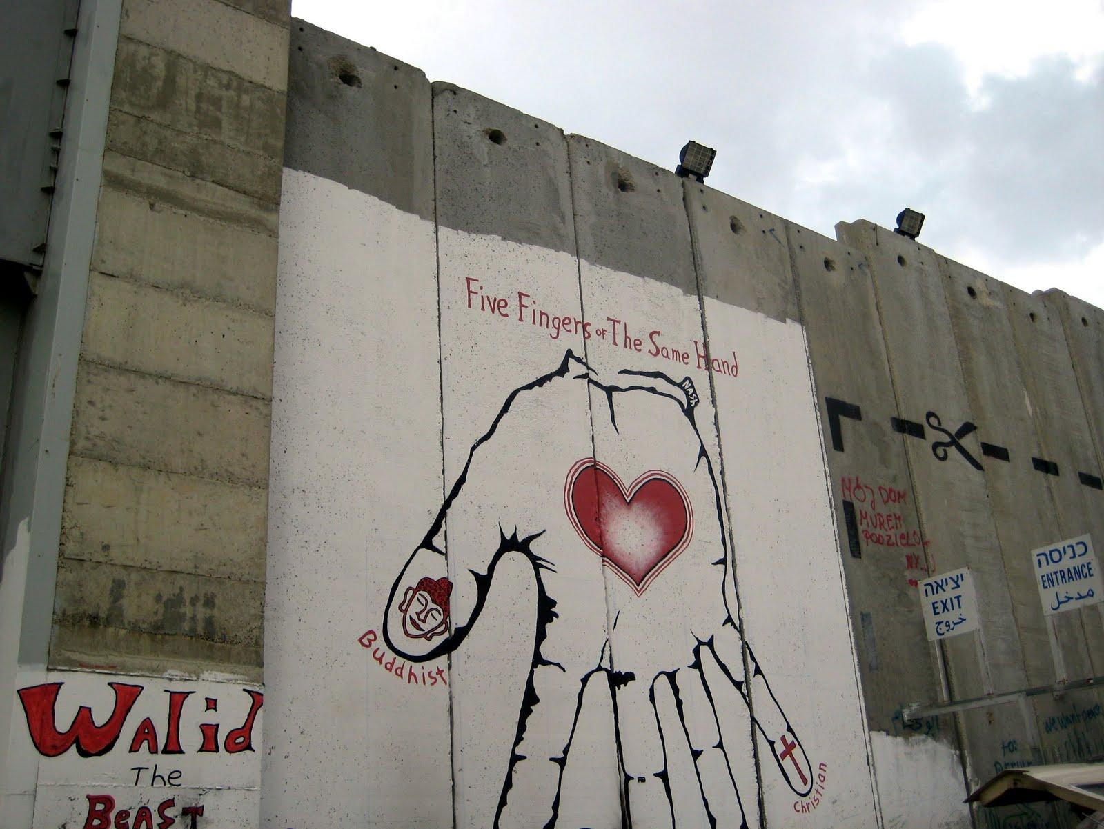 Wall dividing Israel and Palestine