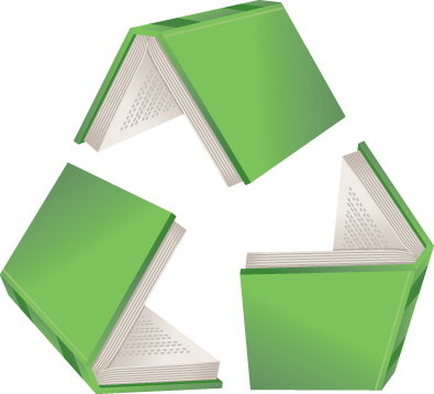 Recycle symbol made of books