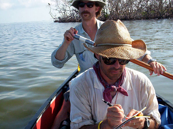 Canoe-based reconnaissance along the Yucatan's north coast. Dominique Rissolo and Jeffrey Glover (pictured) along with Zachary Hruby explored the north coast of the Peninsula in 2006 searching for Prehispanic and historical sites. Image courtesy of Proyecto Costa Escondida Maritime Maya 2011 Expedition, NOAA-OER.