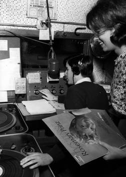Steve Iscoe and Jan Childs operating radio station, 1966.