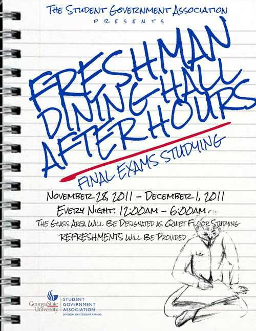 ad for GSU freshman dining hall study hours