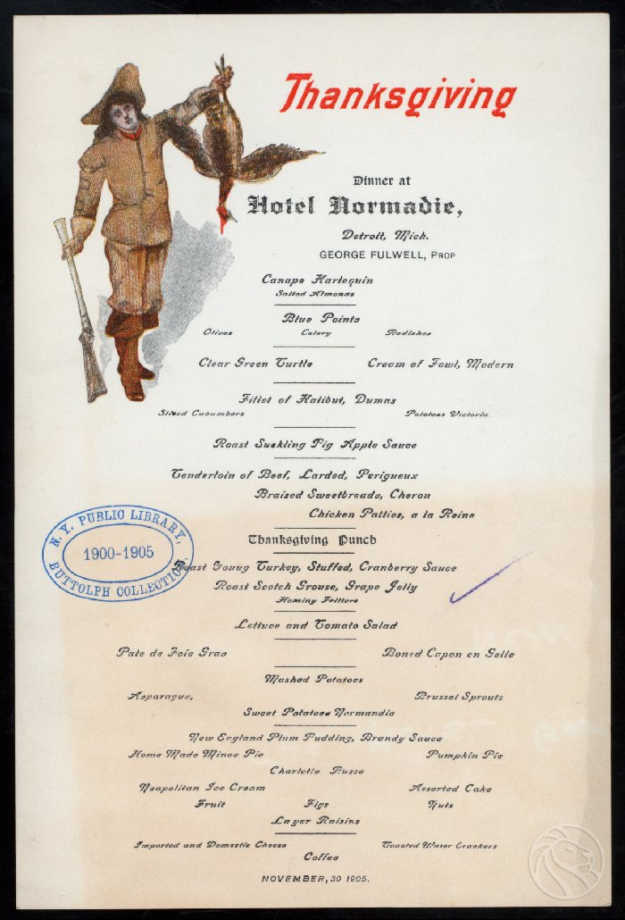 Thanksgiving at the Hotel Normandie, Detroit, Michigan. November 30, 1905