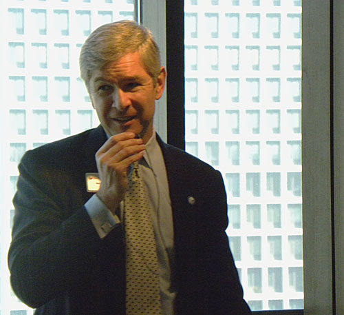 Georgia State University President Mark Becker at the faculty author event