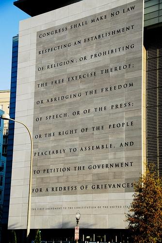 """First Amendment"" on Newseum on Constitution Avenue, Washington, D.C. - cc mr_mayer (flickr)"