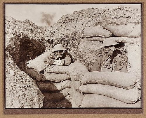 Gas attack. Funk holes in the trenches. From the collections of the Mitchell Library, State Library of New South Wales