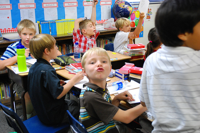 elementary kids in classroom