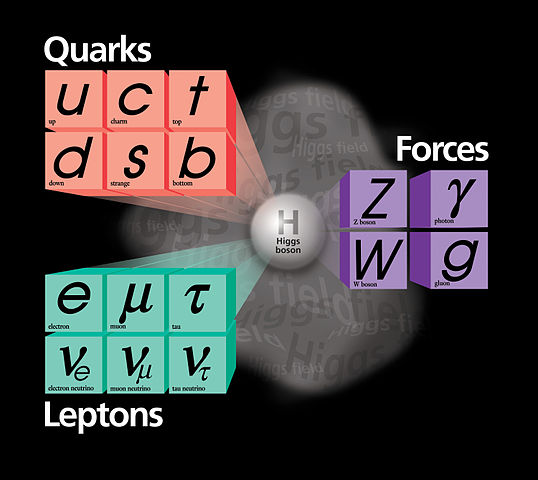 Illustration of the Standard Model of physics, featuring groupings of sub-atomic particles and forces all connected to the Higgs boson in the center.