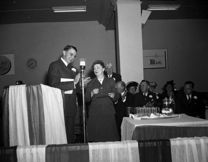 Margaret Mitchell on the right and Frank Neely (Rich's General Manager and later president) on the left. From January 2, 1942 when Rich's was celebrating its Diamond Jubilee. Mitchell was unveiling 5 murals Rich's had commissioned for the store done by prominent artists: Witold Gordon, Wilbur Kurtz and John Sitton.