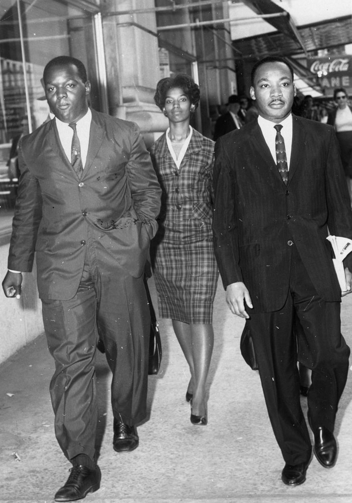 Lonnie King, Marilyn Pryce and Martin Luther King Jr. Behind King is Blondean Orbert-Nelson. These four and others were arrested October 19, 1960, for attempting to be served in Rich's white-only Magnolia Room. The arrest of MLK resulted in his first night in jail.