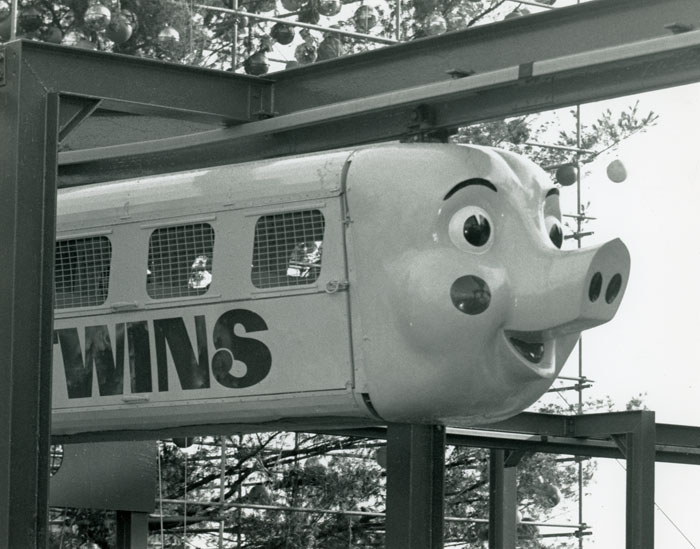 Percival the Pink Pig glides past The Great Tree in 1980. Copyright: Atlanta Journal-Constitution.