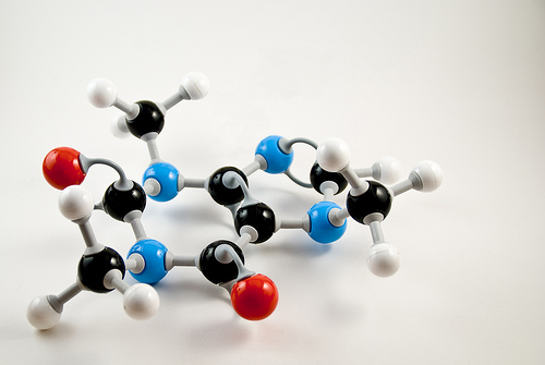 3d model of a caffeine molecule