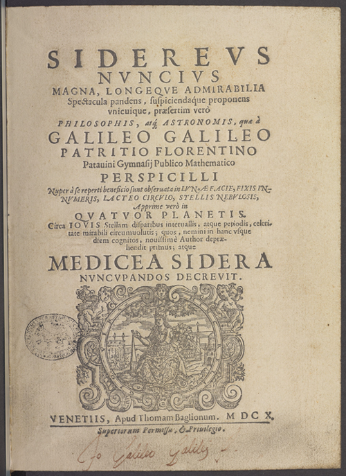 Title page of the Martayan Lan copy of Galileo's Sidereus Nuncius