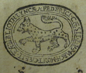 The library stamp used by the founder of the Accademia dei Lincei Federico Cesi.