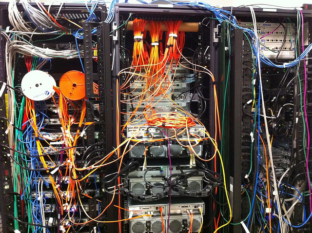 The back of a set of servers