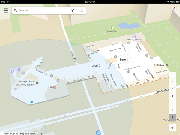 Screen capture of Google Maps showing the interior of Georgia State University Library