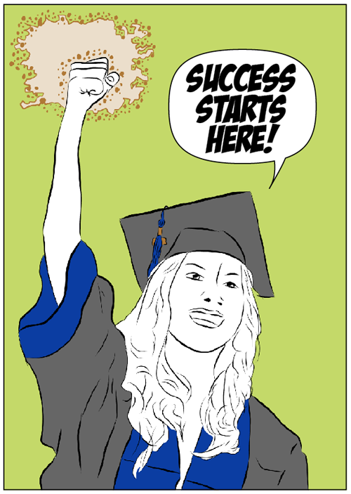 Cartoon of graduating student raising fist.