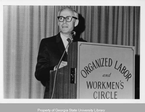 Jacobs speaking at the First Workmen's Circle Awards Banquet, 1969