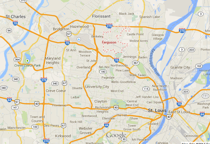 map of Ferguson, Missouri in relation to St. Louis City