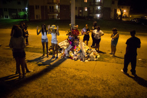 Young people gather at Michael Brown memorial in Ferguson, August 23, 2014. CC image by Flickr user Youth Radio.