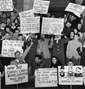 "Students protesting the election of Herman Talmadge from the ""Passing the Torch of Activism"" exhibit."