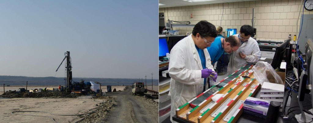 Drilling rig at Lake Magadi, Kenya, in summer, 2014 and NSF's National Lacustrine Core Facility at the University of Minnesota – Dr. Deocampo, Dr. Tim Lowenstein, and Dr. Jiuyi Wang