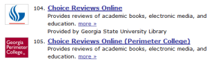 Showing the difference between links for GSU's Choice Reviews Online and PC's Choice Reviews Online (Permiter College) links