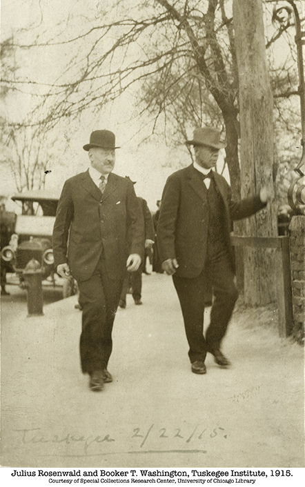 Julius Rosenwald and Booker T. Washington at Tuskegee Institute, 1915