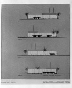 Architectural rendering of Eastern Air Lines Service Facilities Building, 1961