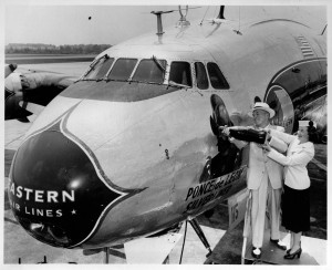 A Constellation named Ponce de Leon is christened with a bottle of Coca-Cola at Hartsfield, 1951.