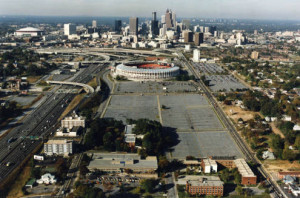 Atlanta-Fulton County Stadium and the future site of Turner Field, 1992