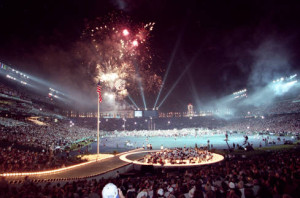 Closing ceremony at Centennial Olympic Stadium (Atlanta-Fulton County Stadium is visible beyond the scoreboard), August 4, 1996 {AJCNS1996-08-04g]