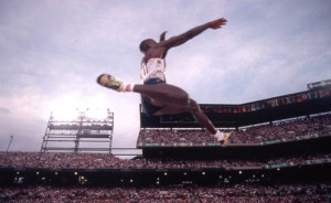 Olympic long jumper in Centennial Olympic Stadium, 1995