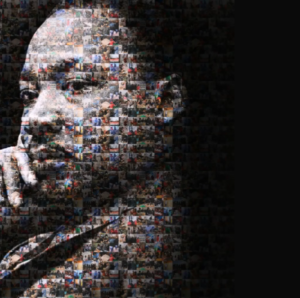 image of Martin Luther King Jr. made up of smaller photos of service activities