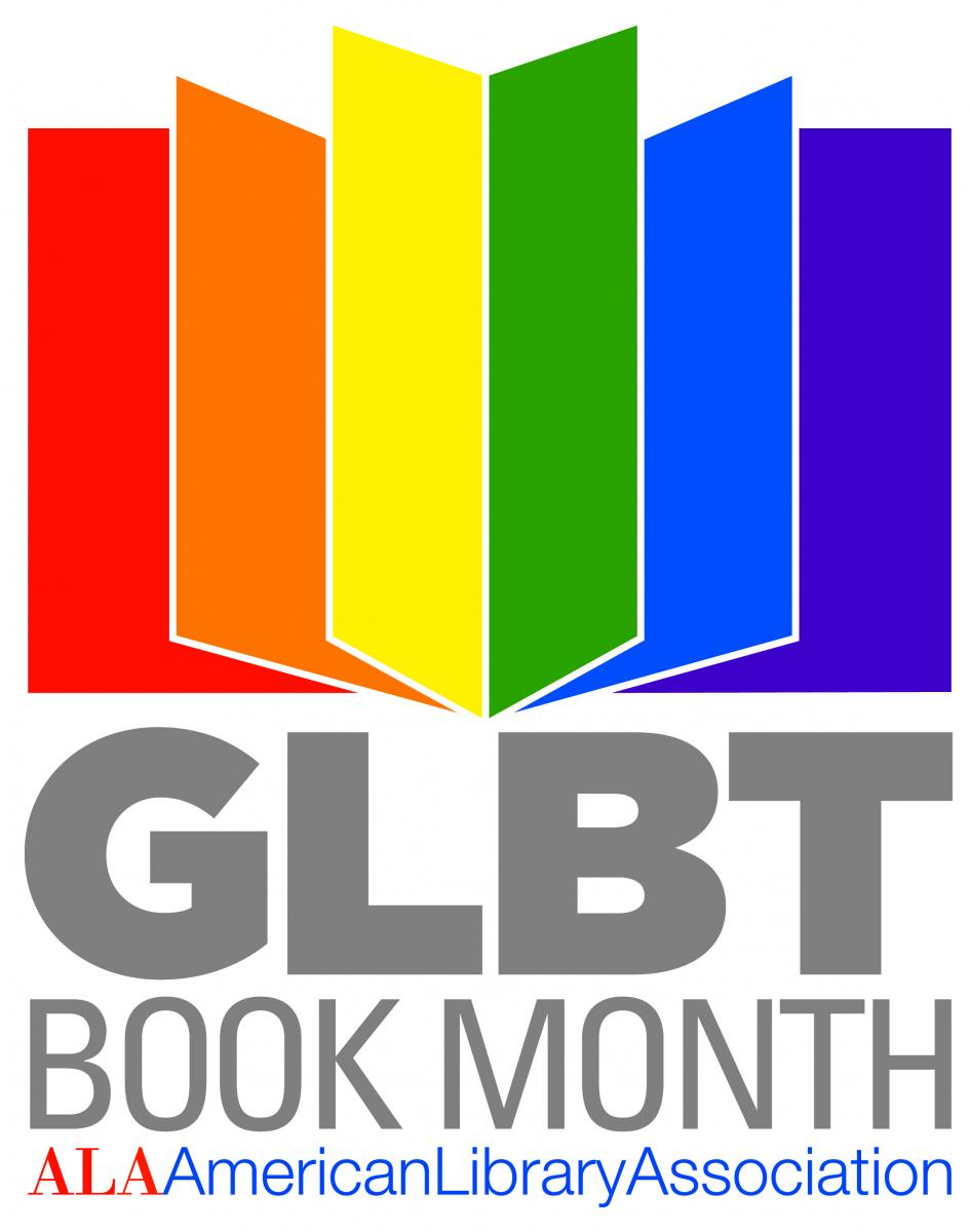 GLBT Book Month, American Library Association, below a book with rainbow pages