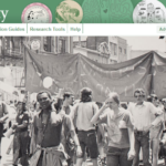 Photograph from landing page of Sex and Sexuality showing crowd of people with banner.